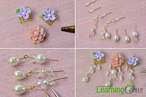 make the first part of the flower bead stud earrings