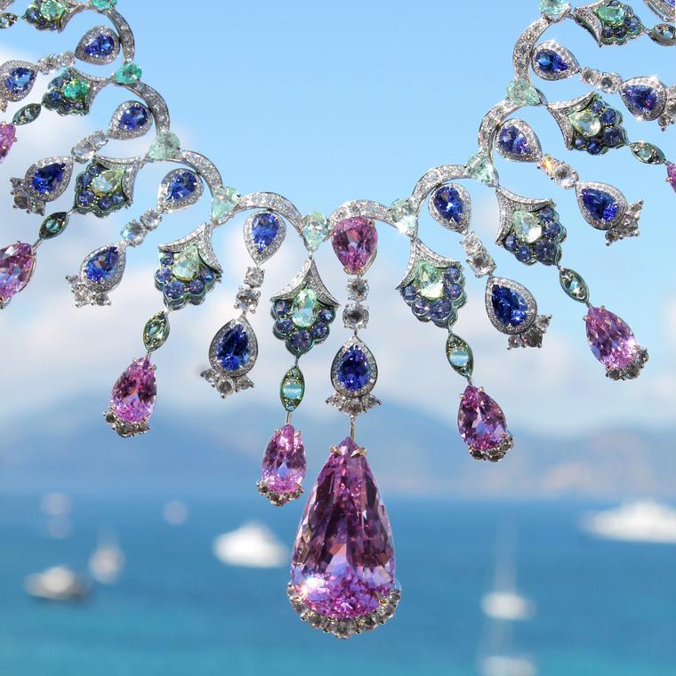 GiftJewelryShop Olympics Female do Gymnastic Purple Amethyst Crystal February Birthstone Flower Dangle Charm Bracelets