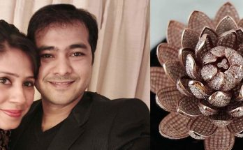 Mr. Vishal and Mrs. khushbu Agrawal with their Lotus flower diamond rose gold ring